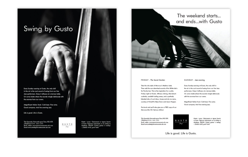 Gusto group full page ads